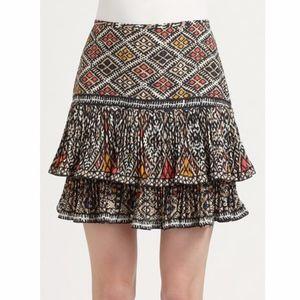 BCBGMaxAzria Nima tiered tribal mini skirt 0 XS